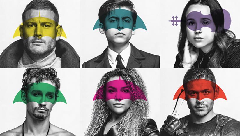 I primi piani dei sei protagonisti della serie supereroistica decostruttiva Umbrella Academy