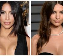 Primo piano di Kim Kardashian e Emily Ratajkowski