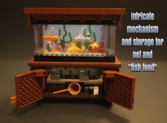 Alcuni dettagli del mobile dove poggia l'acquario di LEGO