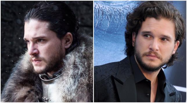 Un collage tra Jon Snow e Kit Harington
