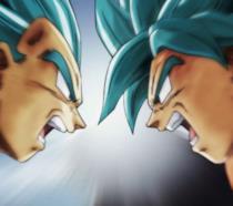 Vegeta e Goku Super Saiyan Blue testa a testa