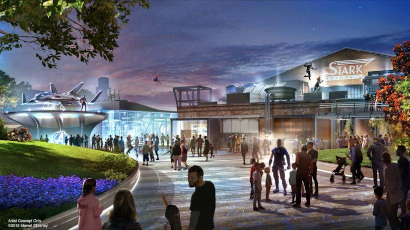 Una concept art del nuovo Avengers Campus di Disneyland Paris