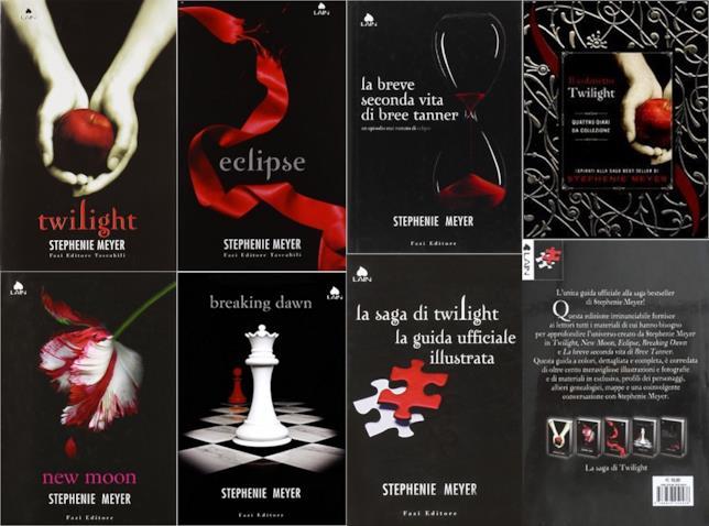 Le copertine dei libri di Twilight