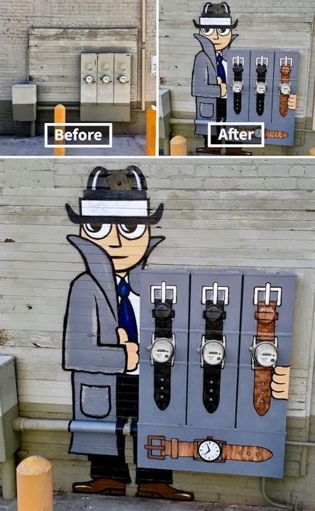 Le creazioni di Tom Bob: cabine elettriche trasformate nell'interno di un cappotto di un venditore di orologi