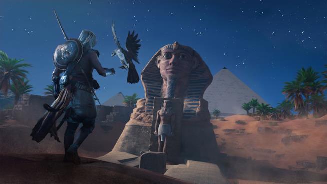 Bayek e la sua fedele aquila in Assassin's Creed Origins