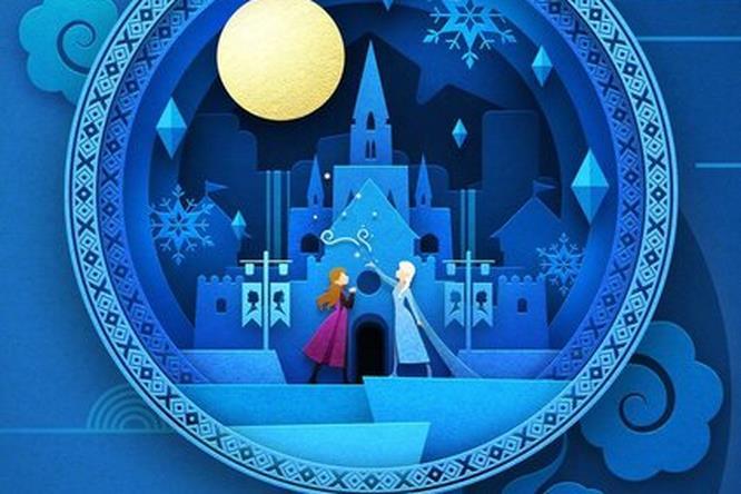 Anna ed Elsa insieme nel poster cinese tinto di azzurro e blu per Frozen 2