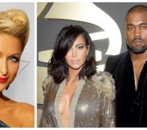 Primo piano di Paris Hilton, Kim Kardashian e Kanye West