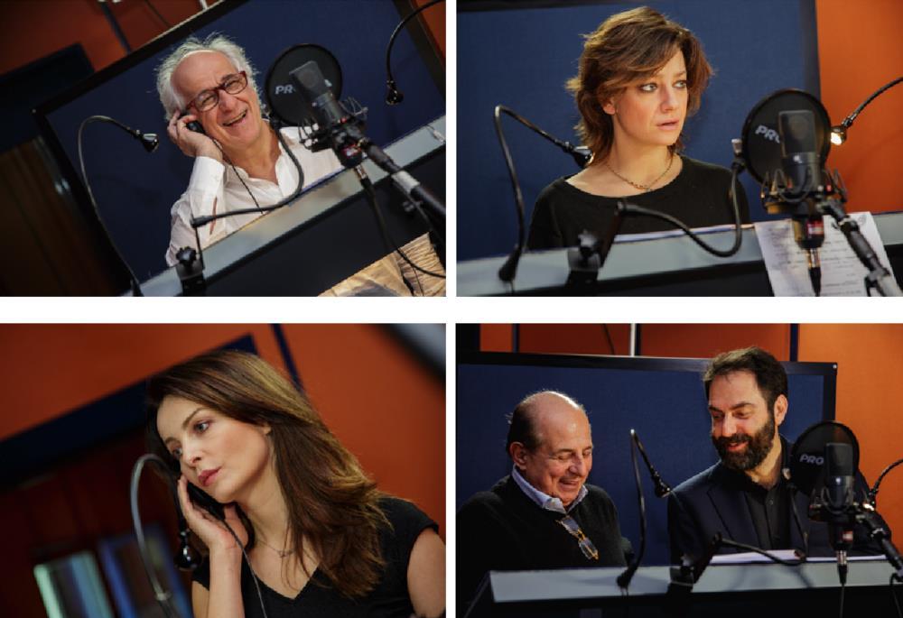 I doppiatori Toni Servillo, Giovanna Mezzogiorno, Violante Placido, Giancarlo Magalli e Neri Marcoré