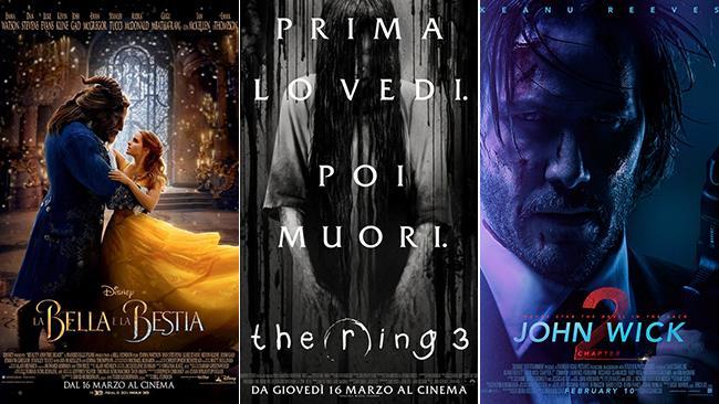 Le locandine dei film La Bella e la Bestia, The Ring 3 e John Wick 2