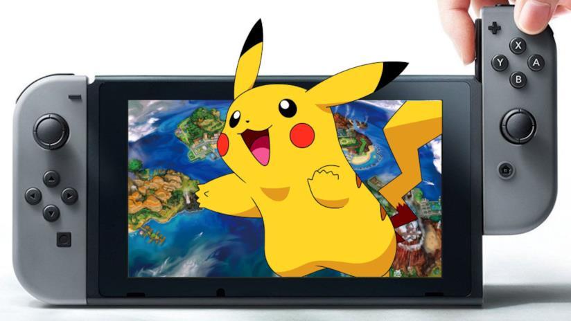 Pikachu con un Nintendo Switch