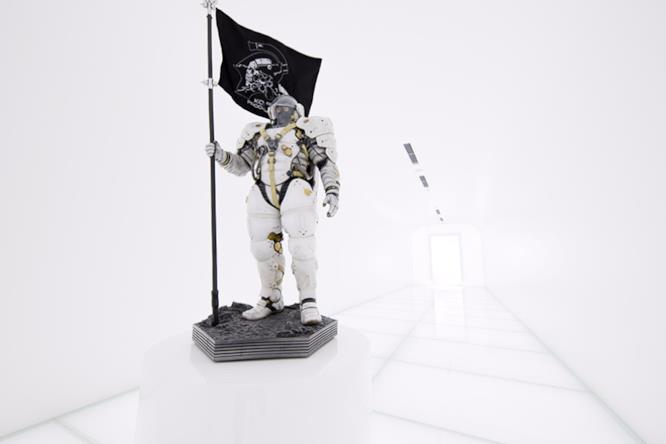 Corridoio con la mascotte Ludens di Kojima Productions