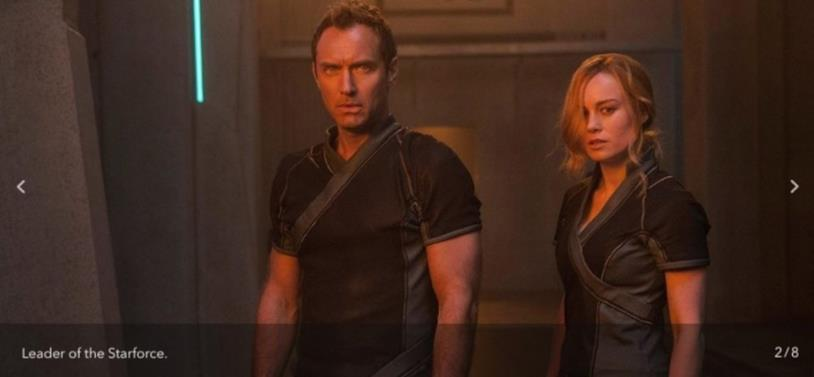 Jude Law e Brie Larson nel film Captain Marvel