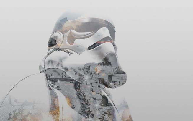 L'artwork di uno stormtrooper da Star Wars Battlefront di DICE