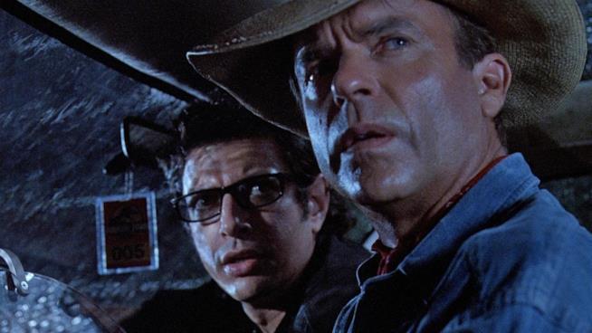Jeff Goldblum e Sam Neill in una scena di Jurassic Park