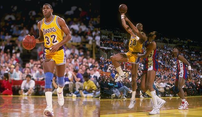 Kareem Abdul-Jabbar in azione con la canotta dei Los Angeles Lakers