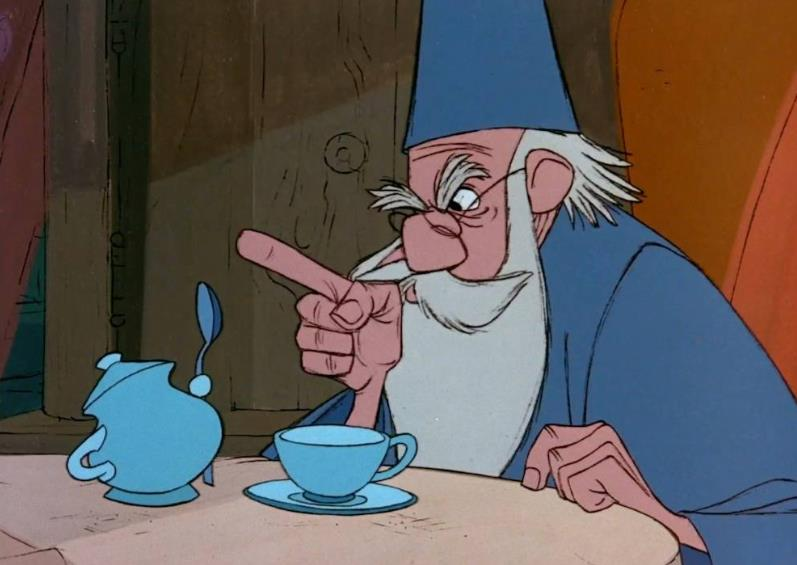 Mago Merlino rimprovera la zuccheriera blu