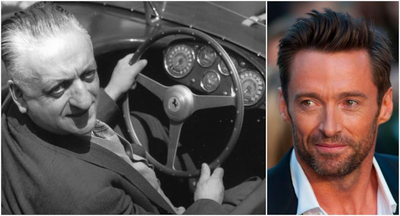 Un collage tra Enzo Ferrari e Hugh Jackman