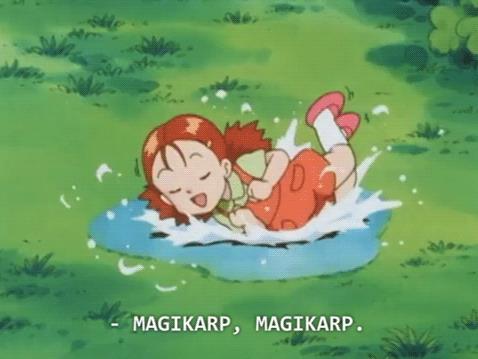 Una bimba imita Magikarp nell'anime dei Pokémon