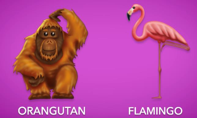 Le nuove emoji dell'orango e del fenicottero