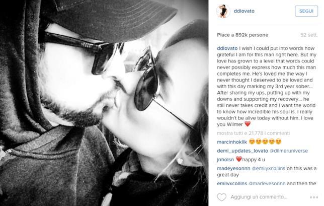 Demi Lovato e il suo fidanzato su Instagram