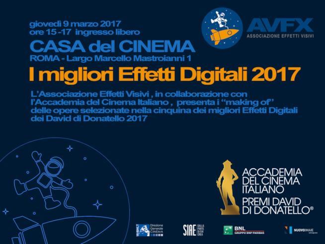 I migliori effetti digitali 2017: giovedì 9 marzo 2017 alla Casa del Cinema di Roma
