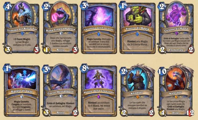 Tutte le carte Mago dell'espansione L'Ascesa delle Ombre di Hearthstone