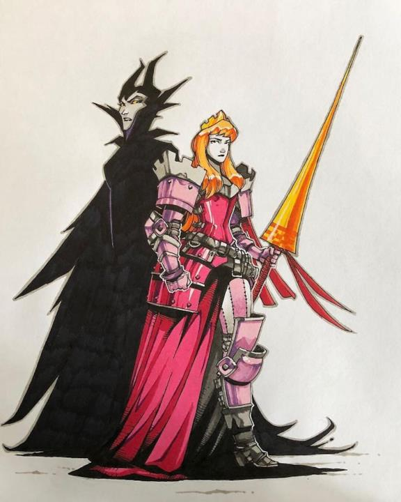 Principessa Aurora in versione guerriera disegnata da Artemii Myasnikov.