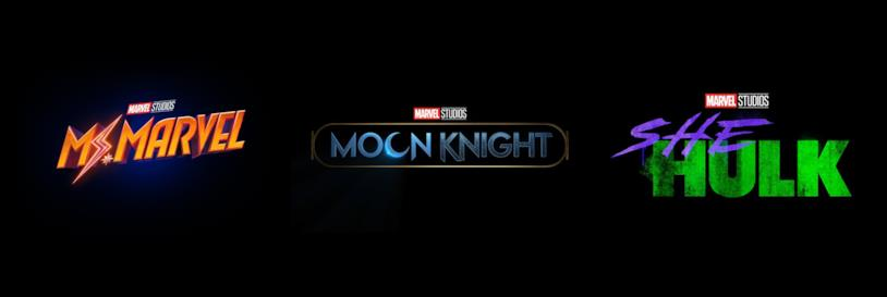 I loghi di Ms. Marvel, Moon Knight e She-Hulk, in arrivo su Disney+