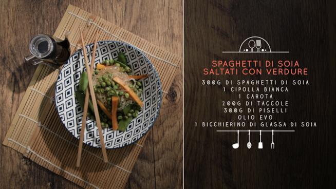 Ricetta spaghetti di soia saltati con verdure