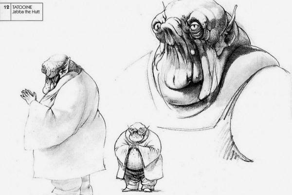 Jabba The Hutt nella concept art originale di Ralph McQuarrie