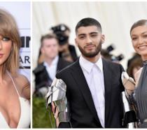 Primo piano di Taylor Swift, Gigi Hadid e Zayn Malik