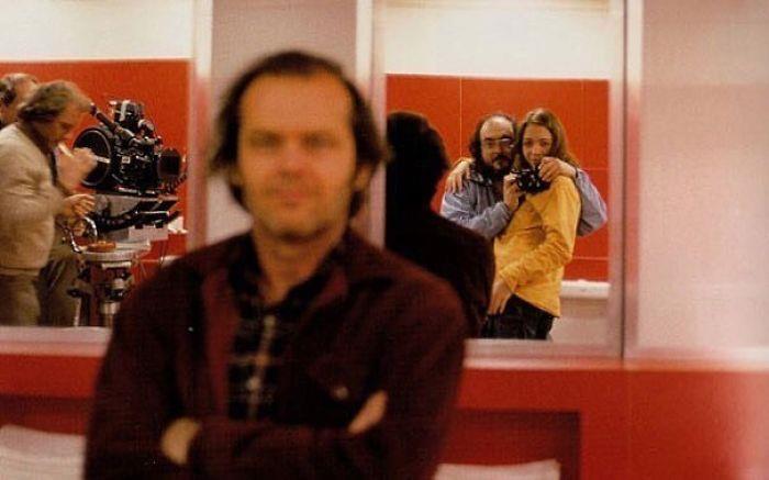 Stanley Kubrick con la figlia e Jack Nicholson