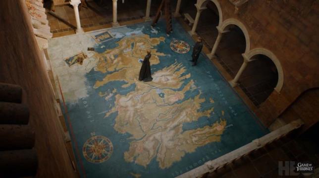 Scena di GoT 7x01 con Cersei e Jaime su una cartina di Westeros