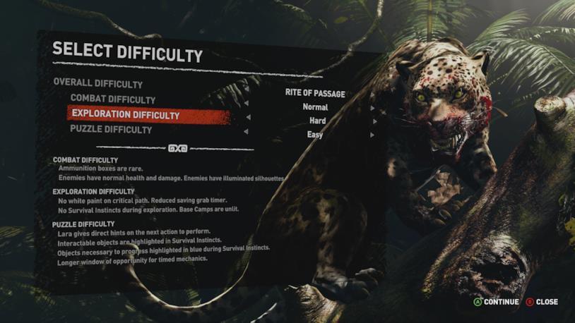 La schermata della difficoltà in Shadow of the Tomb Raider