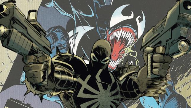 Sullo sfondo Venom, in primo piano l'Agente Venom pronti all'azione