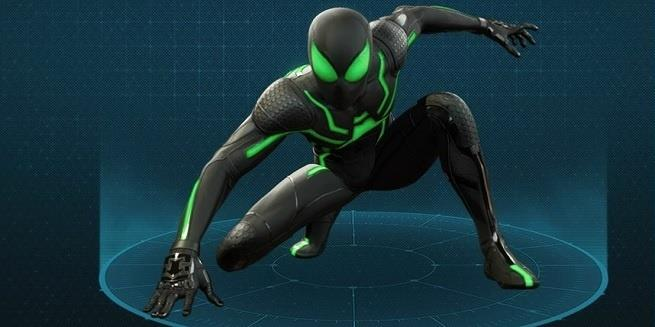 Nero e verde acceso sono i colori della tuta Stealth di Marvel's Spider-Man