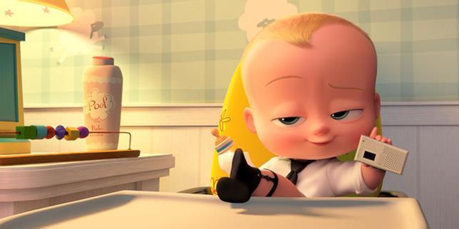 Una scena di Baby Boss, con il protagonista seduto in cucina