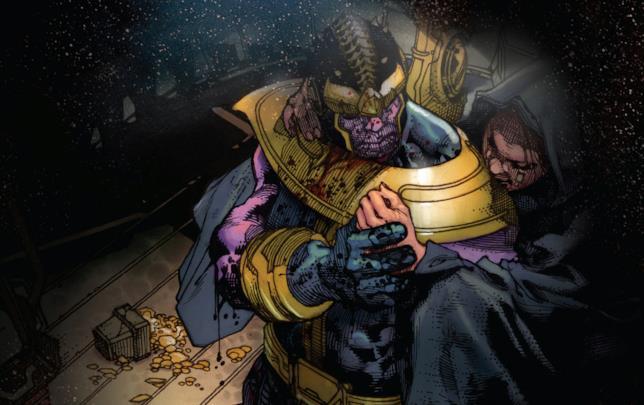 Thanos e Lady Morte si bbracciano