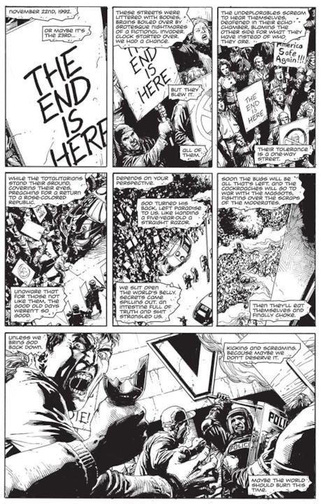 Anteprima della prima pagina di  Doomsday Clock presentata al New York Comic Con