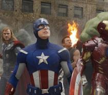 I Vendicatori al completo in una scena di The Avengers
