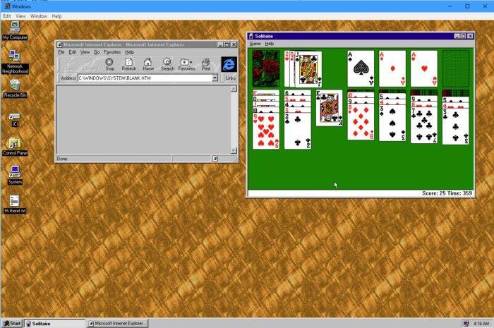 Screenshot dell'app di Windows 95