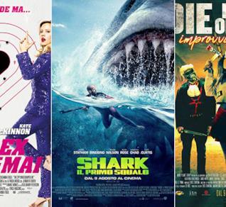 I poster dei film Il tuo ex non muore mai, Shark - Il primo squalo, Die in One Day