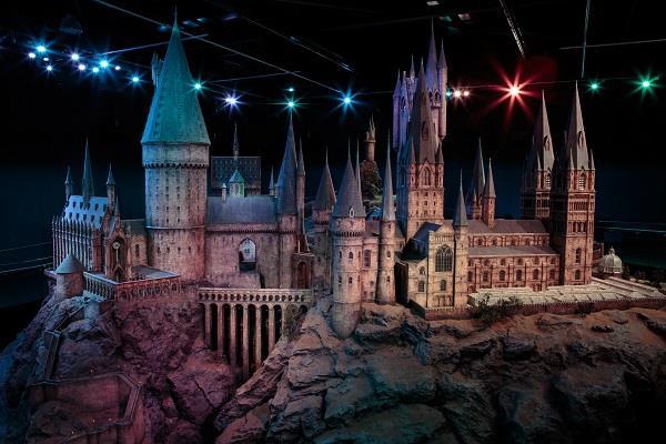 Primo piano del modellino del Castello di Hogwarts, Warner Bros. Studios Tour di Londra