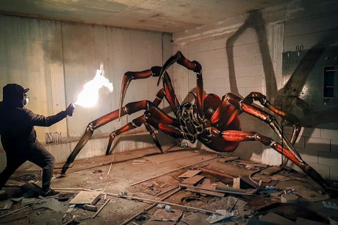 Graffti in 3D: ragno gigante