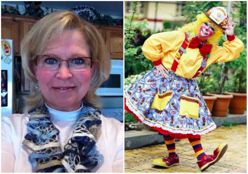 Un primo piano di Pam Moody con accostata una foto di Pam Moody vestita da clown