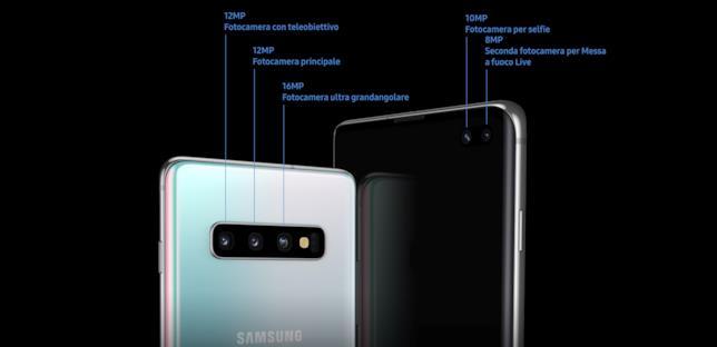 Immagine stampa con le info sui comparti fotografici dei nuovi Galaxy S10 ed S10 Plus