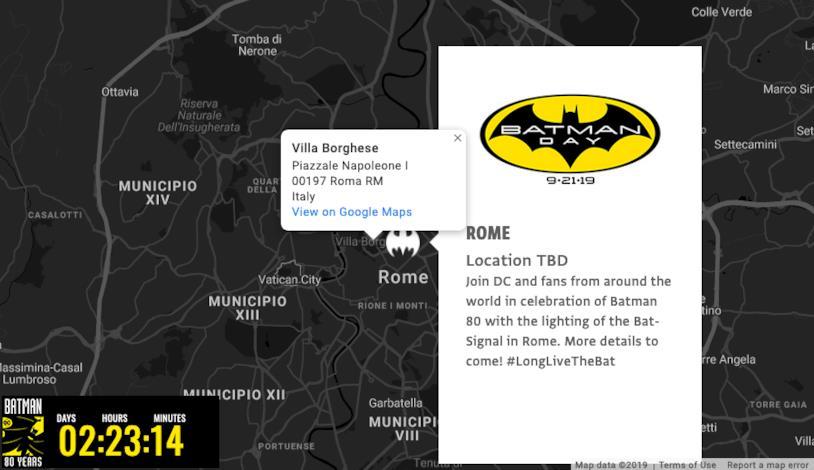 Mappa dei Bat-Segnali, con Roma