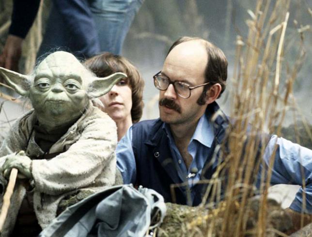 Frank Oz e Yoda sul set di Star Wars