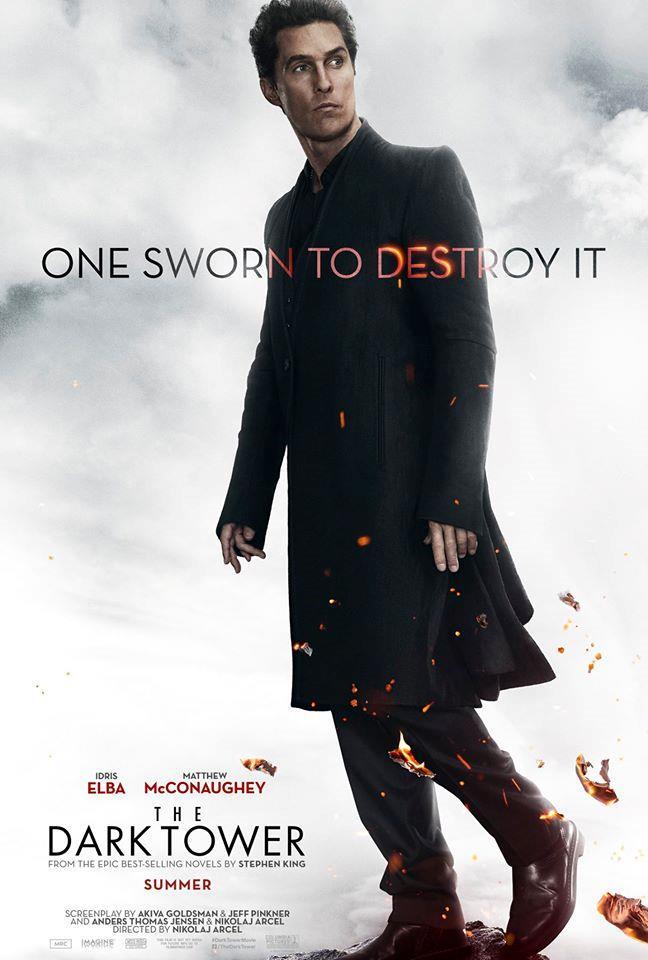 L'Uomo in Nero nel character poster a lui dedicato de La Torre Nera