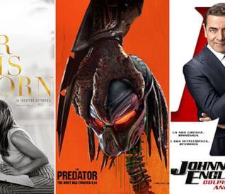I poster dei film A Star Is Born, The Predator, Johnny English colpisce ancora
